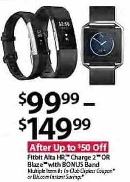 BJs Wholesale Black Friday: Fitbit Alta HR, Charge 2 or Blaze w/Bonus Band for $99.99 - $149.99