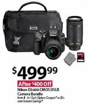 BJs Wholesale Black Friday: Nikon D3400 CMOS DSLR Camera Bundle for $499.99