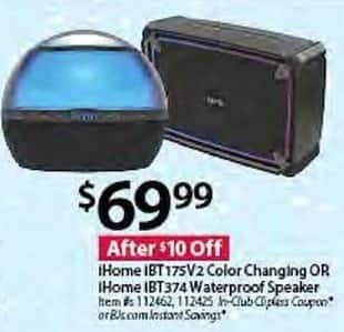 BJs Wholesale Black Friday: iHome IBT175V2 Color Changing or iHome IBT374 Waterproof Speaker for $69.99