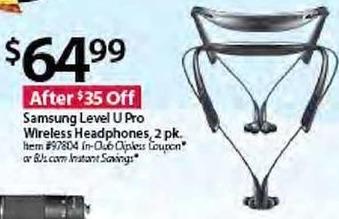 BJs Wholesale Black Friday: Samsung Level U Pro Wireless Headphones, 2-pk. for $64.99
