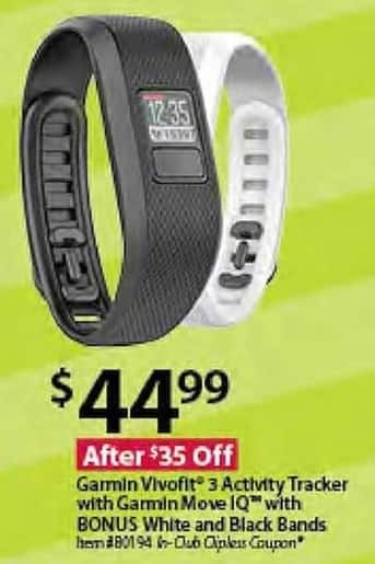 BJs Wholesale Black Friday: Garmin Vivofit 3 Activity Tracker w/Garmin Move IQ and Bonus White and Black Bands for $44.99