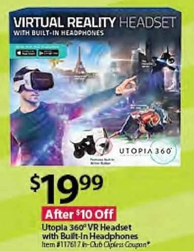 BJs Wholesale Black Friday: Utopia 360 VR Headset w/Built-in Headphones for $19.99