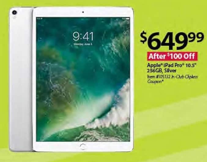 "BJs Wholesale Black Friday: 10.5"" Apple iPad Pro: 256GB, Silver for $649.99"
