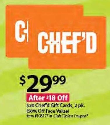 BJs Wholesale Black Friday: $30 Chef'd Gift Cards, 2 pk. for $29.99