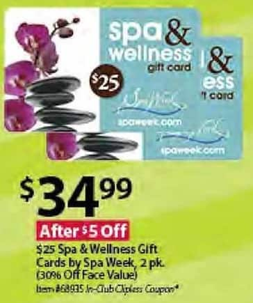 BJs Wholesale Black Friday: $25 Spa & Wellness Gift Cards by Spa Week, 2 pk. for $34.99