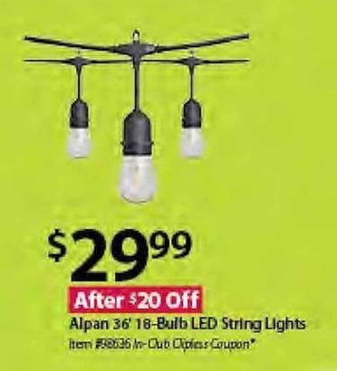 BJs Wholesale Black Friday: Alpan 36' 18-Bulb LED String Lights for $29.99