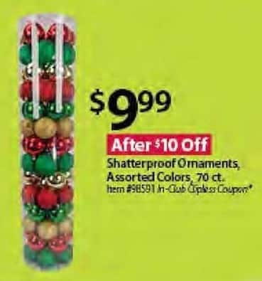 BJs Wholesale Black Friday: Shatterproof Ornaments, 70-ct., Assorted Colors for $9.99