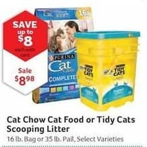 Pet Supplies Plus Black Friday: Cat Chow Cat Food or Tidy Cats Scooping Litter, Select Varieties, Your Choice, with Card for $8.98