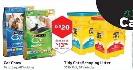 Pet Supplies Plus Black Friday: (2) Cat Chow or Tidy Cats Scooping Litter, All Varieties, w/Card for $20.00