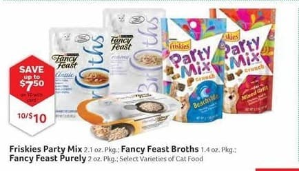 Pet Supplies Plus Black Friday: (10) Friskies Party Mix, Fancy Feast Broths or Fancy Feast Purely Cat Food, Your Choice, w/Card for $10.00