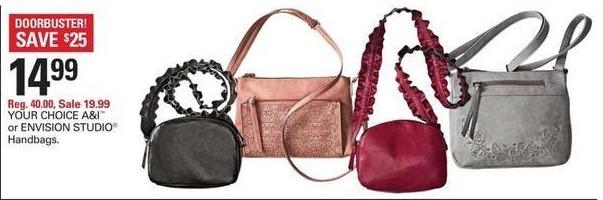 Shopko Black Friday: A&I or ENVISION STUDIO Handbags for $14.99