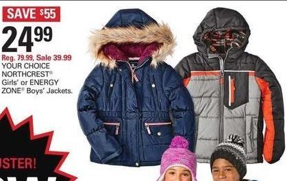 Shopko Black Friday: NORTHCREST Girls' or ENERGY ZONE Boys' Jackets for $24.99