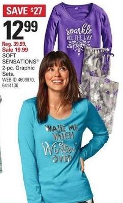 Shopko Black Friday: SOFT SENSATIONS Women's 2-pc. Graphic Sleep Sets for $12.99