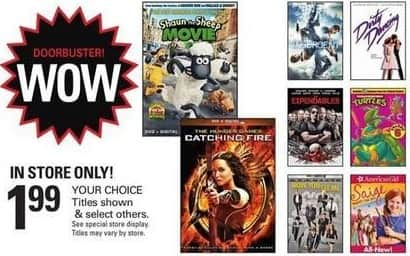 Shopko Black Friday: Select DVDs: The Hunger Games Catching Fire, Dirty Dancing & More for $1.99