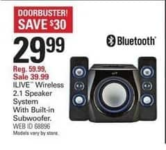 Shopko Black Friday: iLive Wireless 2.1 Speaker System with Built-in Subwoofer for $29.99