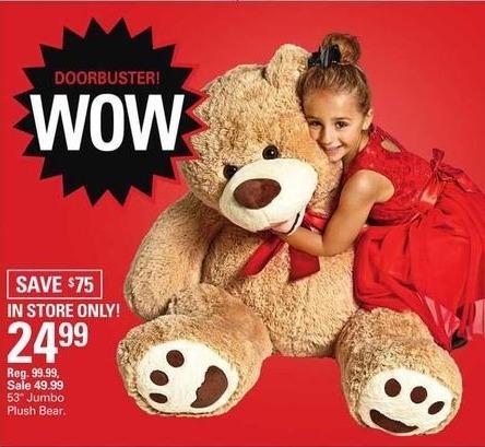 """Shopko Black Friday: 53"""" Jumbo Plush Bear for $24.99"""