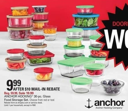 Shopko Black Friday Anchor Hocking 30 pc Glass Food Storage Set for