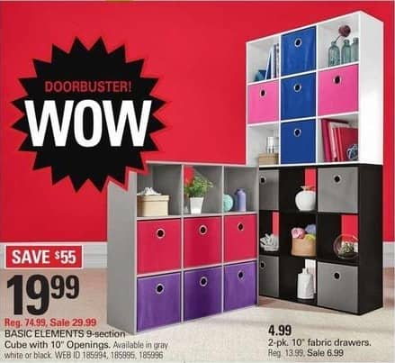 """Shopko Black Friday: Basic Elements 9-section Cube with 10"""" Openings (Gray, White or Black) for $19.99"""