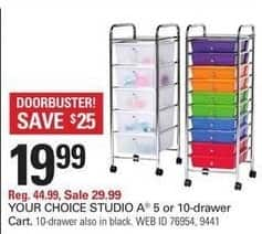 Shopko Black Friday: Studio A 5 -or 10-Drawer Cart, Your Choice for $19.99