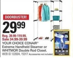 Shopko Black Friday: Extreme Handheld Steamer or Whitmor Double Rod Closet for $29.99