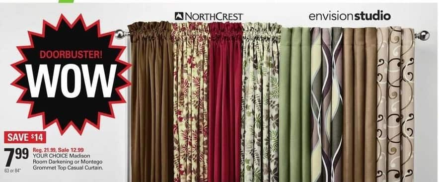 Shopko Black Friday: Madison Room Darkening or Montego Grommet Top Casual Curtain for $7.99