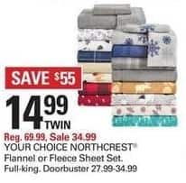Shopko Black Friday: NorthCrest Flannel or Fleece Sheet Set, Your Choice for $14.99