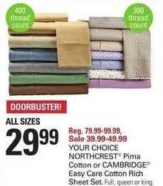 Shopko Black Friday: NorthCrest Pima Cotton or Cambridge Easy Care Cotton Rich Sheet Set (All Sizes) for $29.99