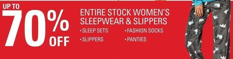 Shopko Black Friday: Entire Stock Women's Sleepwear and Slippers - Up to 70% Off