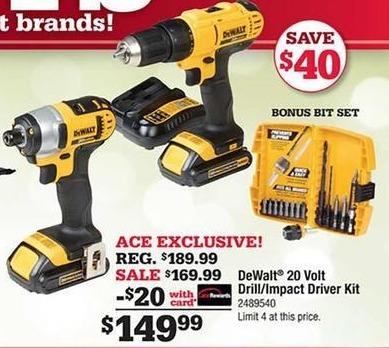 Ace Hardware Black Friday: DeWalt 20 Volt Drill/Impact Driver Kit, w/Card for $149.99