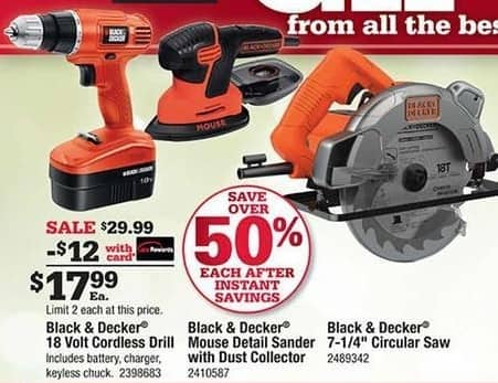 Ace Hardware Black Friday: Black & Decker 18 Volt Cordless Drill, w/Card for $17.99