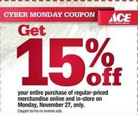 Ace Hardware Black Friday: Entire Purchase of Regular-Priced Merchandise - 15% Off