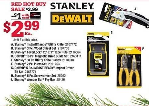Ace Hardware Black Friday: Stanley 50-ct. Utility Knife Blades, w/Card for $2.99