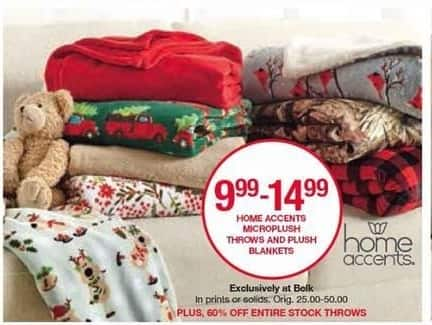 Belk Black Friday: Home Accents Microplush Throws and Plush Blankets (Prints or Solids) for $9.99 - $14.99