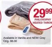 Belk Black Friday: Philosophy Heated Throw for $29.99
