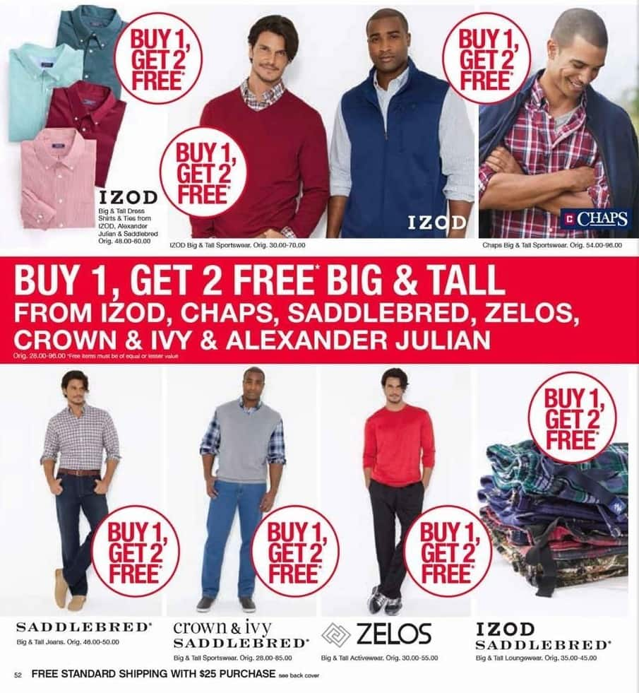 Belk Black Friday: Izod, Chaps, Alexander Julian, Zelos & Saddlebred Big & Tall Clothing - B1G2 Free