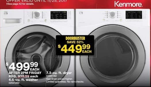 Sears Black Friday: Kenmore 7.3-cu. ft. Dryer for $449.99