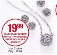 Belk Black Friday: Belk Silverworks 1/10 ct tw Diamond Sterling Silver Jewelry for $19.99