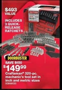 Sears Black Friday: Craftsman 320-pc. Mechanic's Tool Set for $149.99