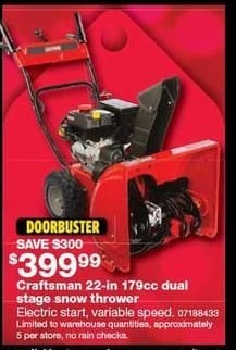 Sears Black Friday: Craftsman 22-in 179cc Dual Stage Snow Thrower for $399.99
