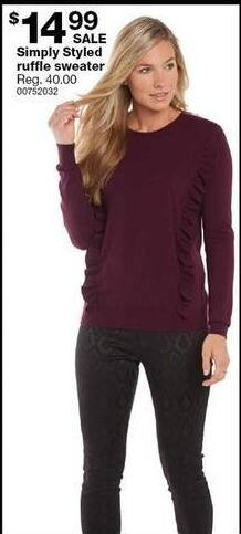 Sears Black Friday: Simply Styled Ruffle Sweater for $14.99