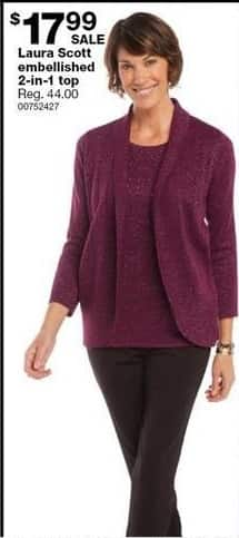 Sears Black Friday: Laura Scott Embellished 2-in-1 Top for $17.99