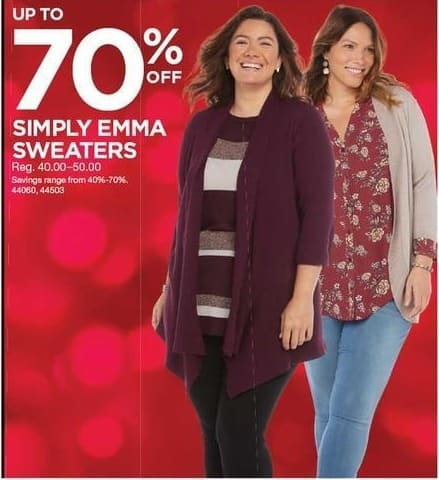 Sears Black Friday: Simply Emma Sweaters - Up to 70% Off