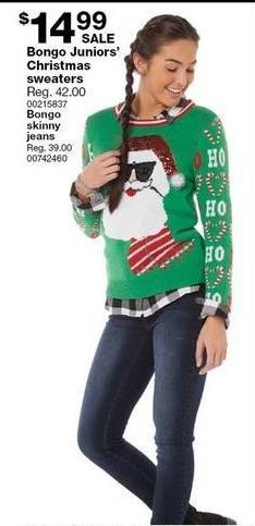Ugly Christmas Sweaters Joe Boxer Juniors Christmas Sweater Santa