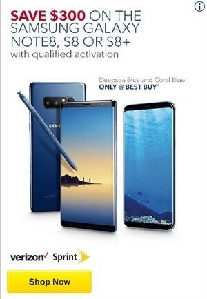 Best Buy Black Friday: Samsung Galaxy Note8, S8 or S8 Plus - $300 Off w/Activation