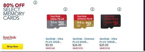 Best Buy Black Friday: Select Memory Cards: SanDisk Ultra Plus 16GB, 64GB and More - 77-83% Off