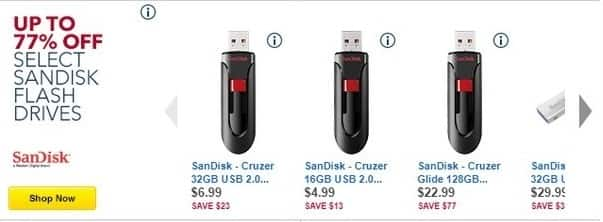 Best Buy Black Friday: Select Sandisk Flash Drives - Up to 77% Off
