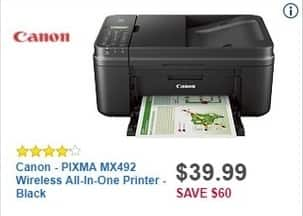 Best Buy Black Friday: Canon PIXMA MX492 Wireless All-in-One Printer (Black) for $39.99