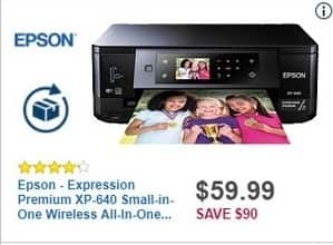 Best Buy Black Friday: Epson Expression Premium XP-640 Small-in-One Wireless All-In-One Printer for $59.99
