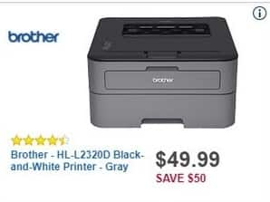 Best Buy Black Friday: Brother HL-L2320D Black-and-White Printer (Gray) for $49.99