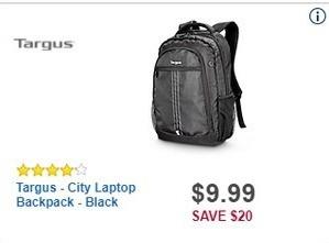 Best Buy Black Friday: Targus City Laptop Backpack (Black) for $9.99